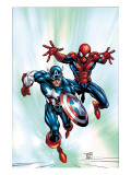 Marvel Age Team Up 2 Cover: Spider-Man and Captain America Fighting and Flying Prints by Green Randy