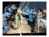 Squadron Supreme Saga Cover: Hyperion, Nighthawk, Rice, Kingsley, Zarda, Dr. Spectrum and Blur Prints by Frank Gary