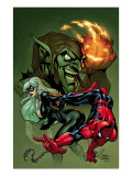 Marvel Knights Spider-Man V3, No.10 Cover: Black Cat, Spider-Man and Green Goblin Crouching Prints by Terry Dodson