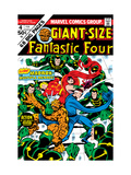 Giant-Size Fantastic Four 4 Cover: Madrox, Medusa, Mr. Fantastic, Thing and Human Torch Fighting Art by John Buscema