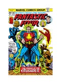 Fantastic Four N164 Cover: Crusader, Thing, Mr. Fantastic, Human Torch and Invisible Woman Fighting Poster by George Perez