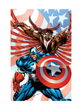 Captain America And The Falcon No.2 Cover: Captain America and Falcon Prints by Bart Sears