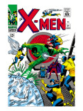 X-Men 21 Cover: Angel, Beast, Cyclops, Dominus, Iceman, Lucifer, Marvel Girl and Professor X Print by Werner Roth