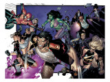 House Of M No.6 Group: Wolverine, She-Hulk, Spider-Man and Warbird Art by Olivier Coipel