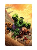 Marvel Adventures Hulk 12 Cover: Hulk, Thing and Juggernaut Print by David Nakayama
