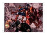 Daredevil No.60 Group: Daredevil, Spider-Man, Iron Fist, and Luke Cage Fighting Poster von Alex Maleev
