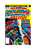 Captain America And The Falcon 202 Cover: Captain America and Falcon Fighting and Flying Prints by Jack Kirby