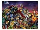 Thor 85 Group: Thor, Hulk, Loki, Thanos, Beta-Ray Bill and Odin Fighting Posters by Andrea Di Vito