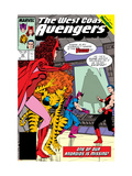 Avengers West Coast 42 Cover: Scarlet Witch, Tigra, Wonder Man, Hawkeye and West Coast Avengers Art by Byrne John