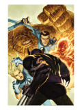 Dark Wolverine 76 Cover: Invisible Woman, Thing, Mr. Fantastic and Human Torch Fighting Prints by Mico Suayan