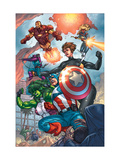 Avengers 84 Group: Captain America, She-Hulk, Lionheart, Iron Man, Hawkeye and Avengers Poster by Kolins Scott
