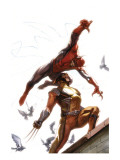 Secret Invasion No.7 Cover: Spider-Man and Wolverine Prints by Gabriele DellOtto