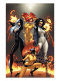 Marvel Divas No.1 Cover: Hellcat, Black Cat, Captain Marvel and Firestar Poster by J. Scott Campbell