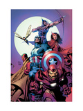 Avengers No.80 Cover: Iron Man, Captain America, Vision, Scarlet Witch, Hawkeye, Wasp and Avengers Print by David Finch