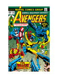 Avengers No.144 Cover: Hellcat, Captain America, Iron Man, Beast, Vision and Avengers Charging Art by George Perez