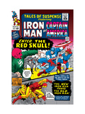 Tales Of Suspense 65 Cover: Iron Man, Captain America, Bucky and Red Skull Swinging Posters by Don Heck