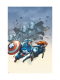 Marvel Team-Up 6 Cover: Black Widow and Captain America Swinging Prints by Kolins Scott