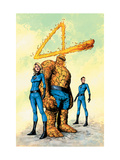 Marvel Knights 4 26 Cover: Mr. Fantastic, Human Torch, Invisible Woman, Thing and Fantastic Four Poster von De Landro Valentine