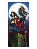 Ultimate Spider-Man 52 Cover: Spider-Man, Elektra and Black Cat Prints by Mark Bagley