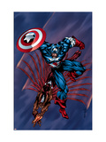 Captain America & The Falcon No.4 Cover: Captain America and Falcon Poster by Sears Bart