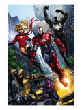 Ms. Marvel 44 Group: Iron Patriot, Wolverine, Hawkeye, Ms. Marvel and Spider-Man Print by Takeda Sana