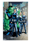 Exiles 95 Group: Doom, Victor Von, Human Torch, Invisible Woman and Hulk Print by Henry Clayton