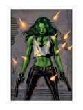 She-Hulk No.26 Cover: She-Hulk Fighting Poster by Land Greg