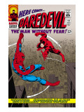 Daredevil #16 Cover: Spider-Man and Daredevil Charging Poster van John Romita Sr.