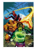 Spider-Man Family 7 Cover: Spider-Man, Thing, Looter and Human Torch Posters by Karl Kesel