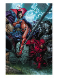 Ultimatum No.4 Cover: Spider-Man, Daredevil, Dr. Strange and Hulk Poster von David Finch