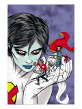 X-Statix Presents: Dead Girl 2 Cover: Dr. Strange, Dead Girl and Phantom Rider Fighting Print by Dragotta Nick
