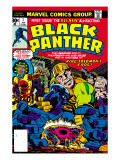 Black Panther No.1 Cover: Black Panther, Little, Abner and Princess Zanda Fighting Prints by Jack Kirby