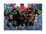 The Mighty Avengers 21 Group: U.S. Agent, Hulk, Wasp, Hercules, Jocasta, Stature and Vision Prints by Pham Khoi