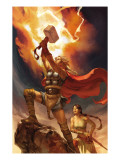 Thor Son Of Asgard 12 Cover: Thor and Sif Prints by Chen Jo