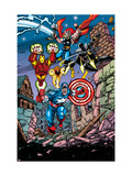 Avengers No.21 Cover: Captain America, Thor, Iron Man, Black Panther and Avengers Affiches par George Perez