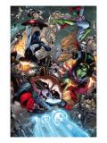 Guardians Of The Galaxy No.8 Group: Rocket Raccoon, Major Victory, Bug and Mantis Prints by Walker Brad