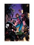 Marvel Adventures Avengers 28 Cover: Captain America, Giant-Girl, Spider-Man and Wolverine Prints by Kirk Leonard