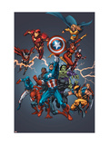 Official Handbook: Avengers 2005 Cover: Captain America, Hulkling and Cage Poster van Tom Grummett