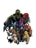 Marvel Pets Handbook Cover: Lockjaw, Lockheed, Devil Dinosaur, Zabu and Old Lace Affiches par Karl Kerschl