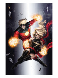 Ms. Marvel No.49 Cover: Ms. Marvel and Captain Marvel Posters by Takeda Sana