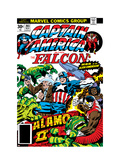 Captain America And The Falcon 203 Cover: Captain America, Falcon, Marvel Comics and Thor Fighting Print by Jack Kirby