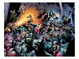 House Of M No.7 Group: Spider-Man, Luke Cage, Storm, Wolverine, She-Hulk and Cyclops Fighting Posters by Olivier Coipel