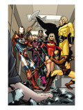 Dark X-Men 3 Group: Iron Patriot, Wolverine, Ms. Marvel, Hawkeye, Ares and Sentry Fighting Poster by Kirk Leonard