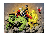 Avengers Finale 1 Group: Hulk, Thor, Iron Man, Wasp and Avengers Fighting Print by Powell Eric