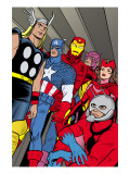 X-Statix 21 Group: Ant-Man, Captain America, Thor, Iron Man, Scarlet Witch, Hawkeye and Avengers Print by Michael Allred