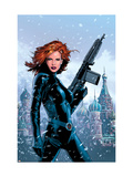 Black Widow 1 Cover: Black Widow Fighting Prints by Land Greg