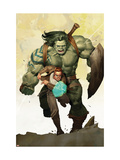 Incredible Hulk #601 Cover: Banner, Bruce and Skaar Stretching Plakater af Ariel Olivetti