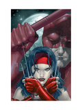 Ultimate Elektra No.2 Cover: Elektra and Daredevil Fighting Posters by Salvador Larroca