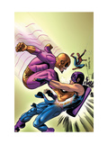 Marvel Adventures The Avengers 35 Cover: Batroc The Leaper, Hawkeye and Spider-Man Poster by David Williams