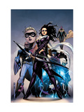 Young Avengers 10 Cover: Bishop, Kate, Patriot, Wiccan, Stature, Vision and Hulkling Stretching Art by Jim Cheung
